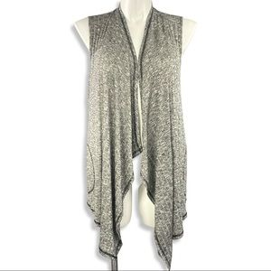 Cable & Gage waterfall vest grey open front